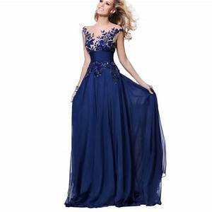 robe de soiree longue bleu dentelle applique robe de With robes de fete