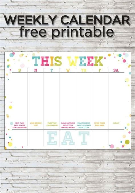 colorful weekly calendar  printable calendar