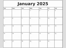 January 2025 Printable Monthly Calendar