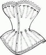 Victorian 1837 Corset Corsets Era 1840 Coloring Clip Pattern Pages Patterns Dress Shaped Breasts Cone Ladies Figure French Lacing Insane sketch template