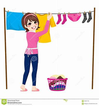 Clothes Hang Hanging Clipart Woman Dry Wet