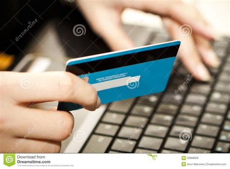Online Shopping With Credit Card On Laptop Royalty Free