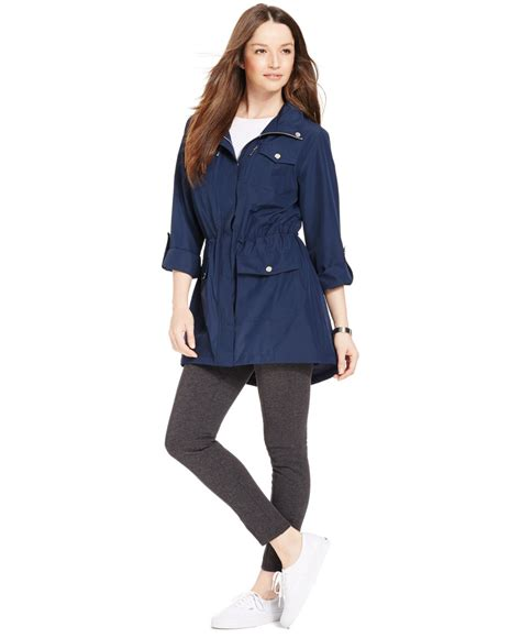style and co sweaters lyst style co hooded anorak jacket in blue