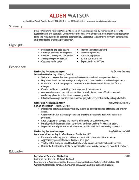 Sle Account Manager Resume by Best Account Manager Resume Exle Livecareer