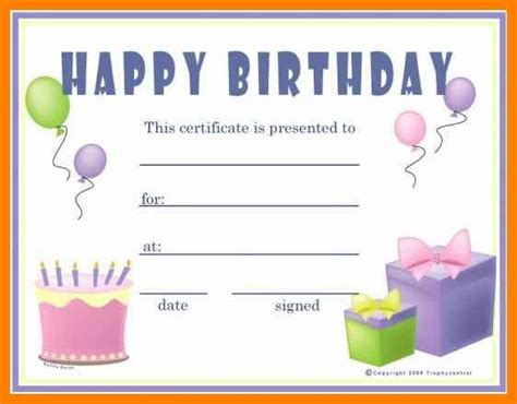 gift certificates templates  printable birthday gift