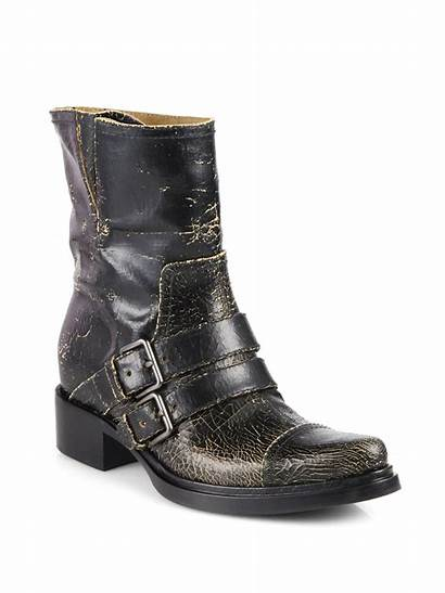Boots Leather Motorcycle Distressed Brown Miu Lyst
