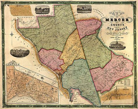 Map Of Mercer County Nj C1849 Repro 30x24