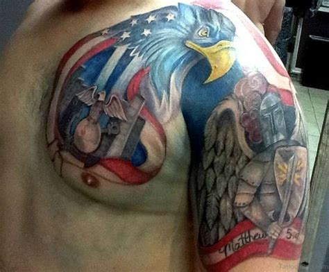 classic flag tattoos  chest