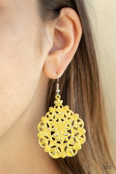 floral affair yellow earrings paparazzi accessories