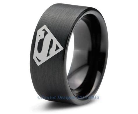 Superman Tungsten Wedding Band Ring Mens Womens Pipe Cut