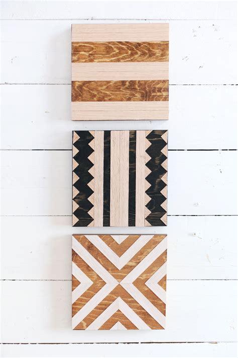 diy geometric wood trivets  beautiful mess