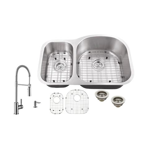 undermount kitchen sink with faucet holes schon all in one undermount stainless steel 32 in 0 9539