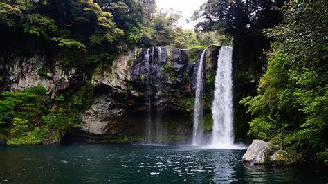 wallpaper jeju island cheonjiyeon waterfall  nature