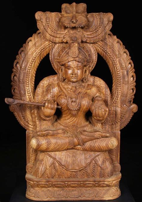"SOLD Wooden Seated Annapurna Statue 36"" (#59w17i): Hindu"
