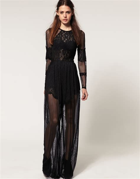 high waist button lyst asos collection asos premium lace and mesh jumpsuit