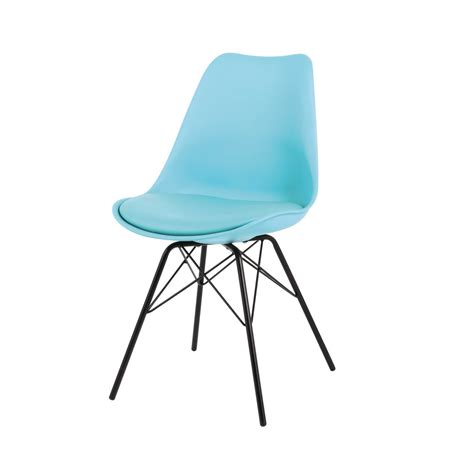 chaise en polypropyl 232 ne et m 233 tal bleue coventry maisons du monde