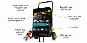 Schumacher Wheeled Battery Starter  Charger 100  40  10  2 Amp Manual  Se 4022