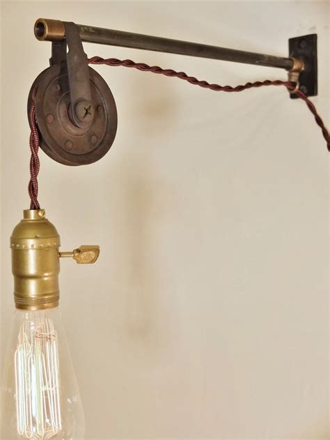 vintage industrial pulley l wall pendant light