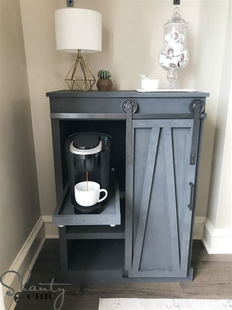 diy barn door coffee cabinet shanty  chic