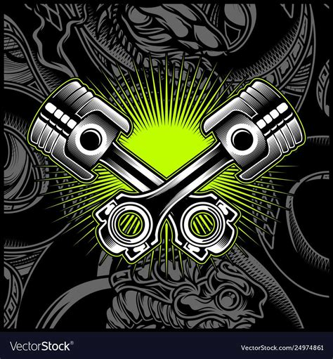 cross motorcycle piston black  white vector image