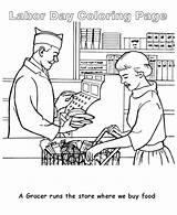 Coloring Labor Grocer Pages Runs Cartoon Colorluna Printable Sheets 600px Happy sketch template