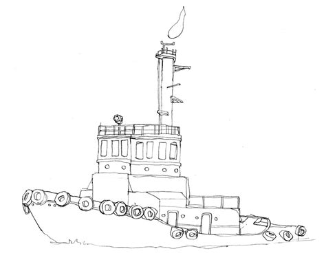 Tugboat Outline by Earthquake Coloring Drawing Coloring Coloring Pages