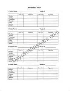 Day Care Attendance Record Sheet