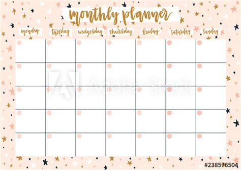 cute monthly planner   year  pastel background