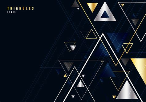 Abstract Black Triangle by Abstract Gold And Silver Triangles Shape And Lines On