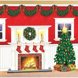 Wall decor kit : Giant christmas party setter fire place tree wall