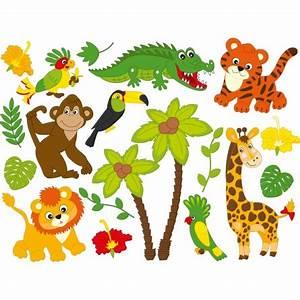 Stickers Animaux De La Jungle : kit stickers animaux de la jungle des prix 50 moins cher qu 39 en magasin ~ Mglfilm.com Idées de Décoration