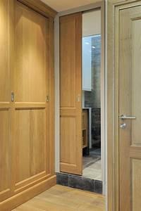 Porte galandage bois massif chambre bureau pinterest for Porte de garage coulissante et porte pin massif