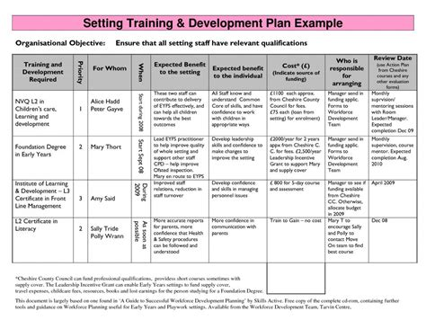 employee plan template employee development plans templates template business