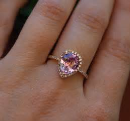 teardrop engagement ring 2 2ct pink chagne tear drop sapphire and gold