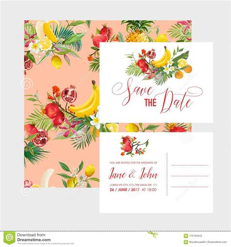 Wedding Invitation Template Set With Tropical Fruits And