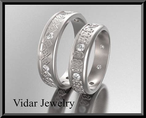 His And Hers Matching Diamond And 14kt White Gold Wedding
