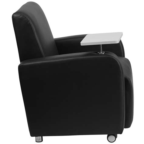 black leather guest chair with tablet arm front wheel