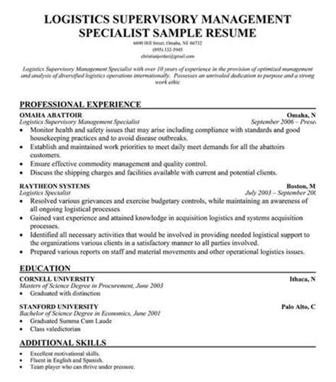 logistics management specialist resume