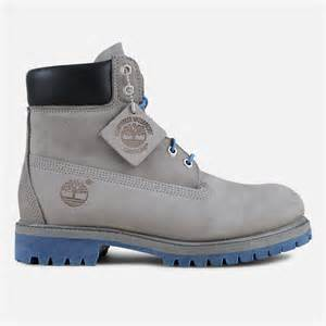Blue and Grey Timberland Boots