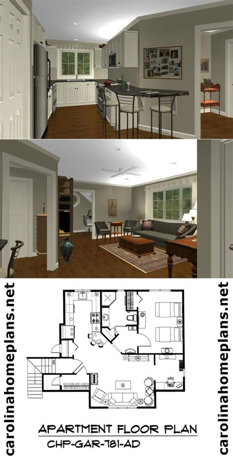delightful spacious 1 bedroom garage apartment plan from