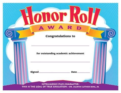 Honor Roll Award. Reward Your Students For Their Special