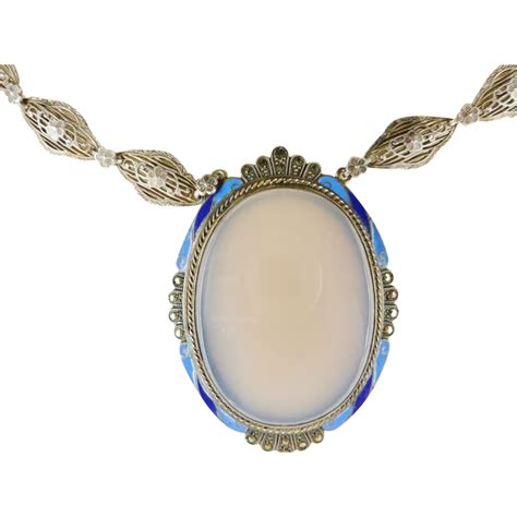 deco enamel jewelry deco sterling enamel chalcedony marcasite necklace from chelseaestate on ruby