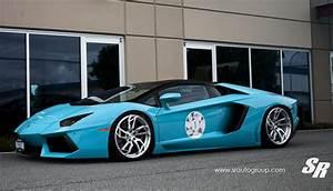 Baby Blue Lamborghini Aventador Roadster by SR Auto
