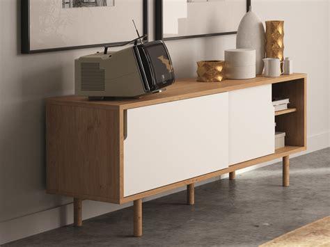 caisson bas cuisine buffet bas meuble tv en bois avec 2 portes coulissantes