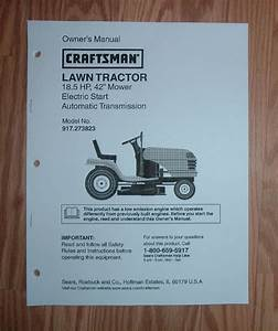 Craftsman 917 273823 Lawn Tractor Owners Manual With
