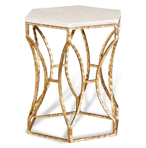 gold end table roja antique gold leaf marble hexagonal side table 4876