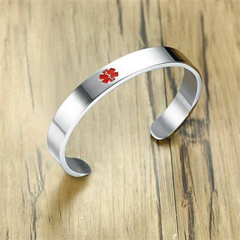medical alert id  bracelet cuff  aid custom