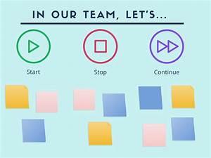 start stop continue template - build strong teams through regular team review meetings