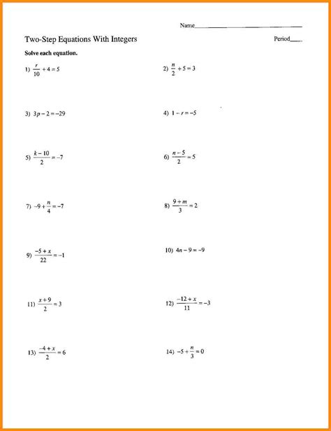 two step equations worksheets worksheets for all