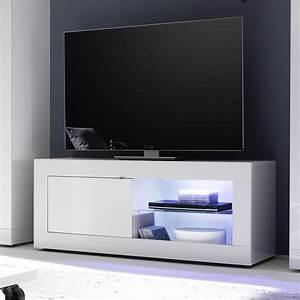 Meuble TV Lumineux Blanc Laqu Design FELINO